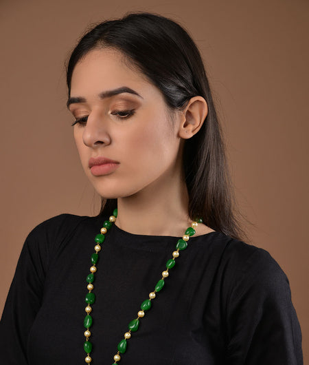 Green Onyx and Pearl Jadau Pendant Necklace