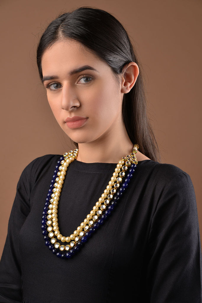 Kundan and Black Onyx Necklace with Shell Pearls