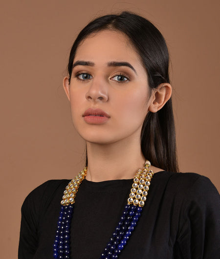 Kundan and Black Onyx 3 line necklace
