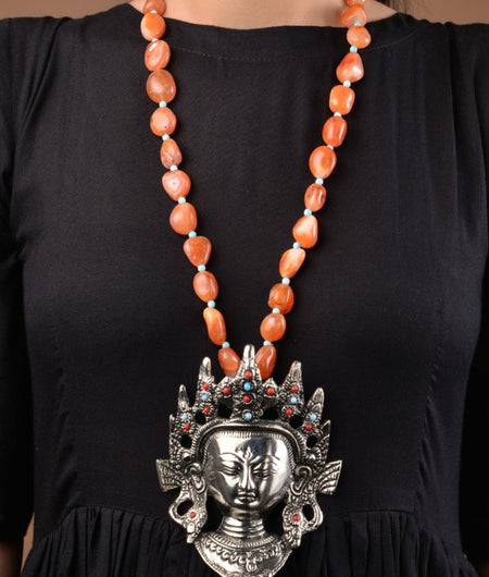 Orange Natural Stones German Silver Budha Necklace