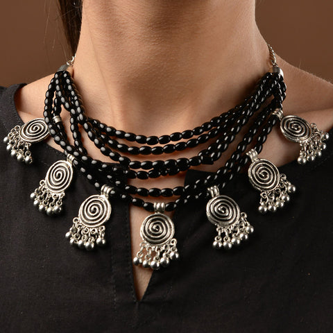 Black Beaded German Silver Necklace