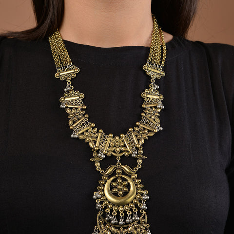 German Silver and Gold Two Tone Necklace