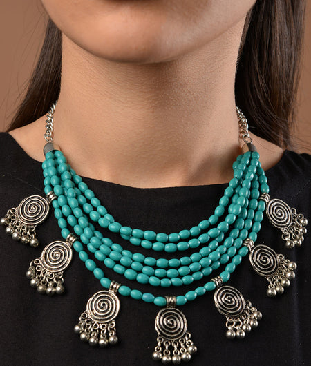 Turquoise Beaded German Silver Necklace