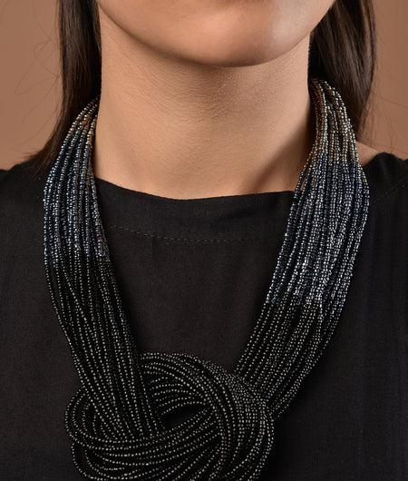 Black Ombre Beaded necklace