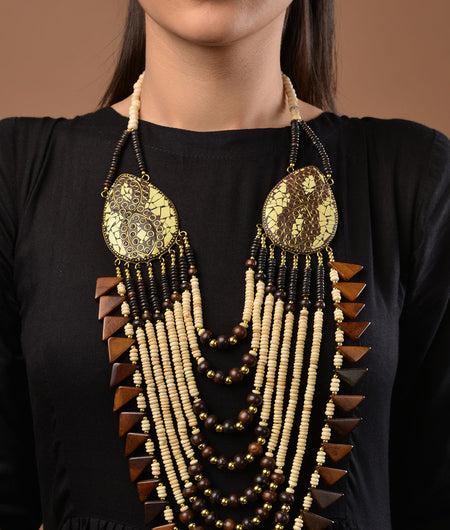 Brown and White Tibetean Necklace