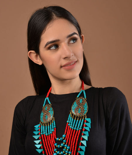Red and Turquoise Tibetean necklace