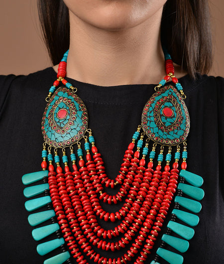 Turquoise and Red Tibetean Necklace