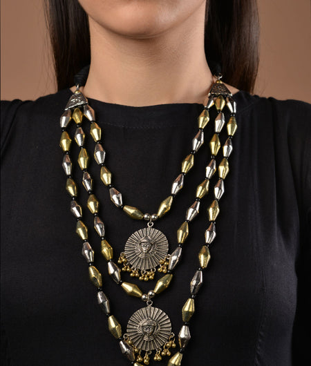 Silver and Gold Elaichi 3 line necklace