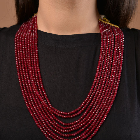 Red onyx Multilayered necklace