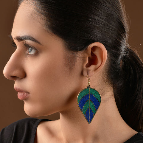 Blue and Green Leaf Brass Earrings