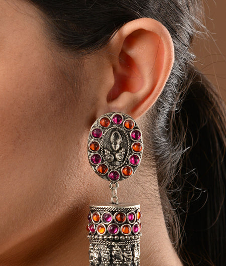 Pink and Orange Stone work German Silver Jhumka