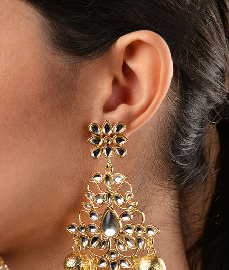 Gold Plated Kundan Chandbaali with Jhumkis