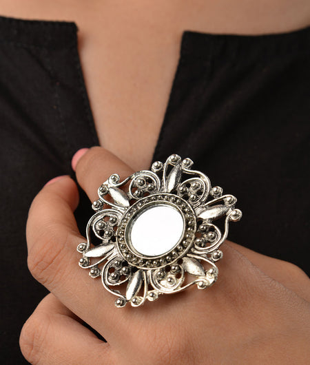 Mirror Work German Silver Ring