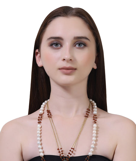 Shades of Brown And White Semi Precious Necklace Stone Necklace