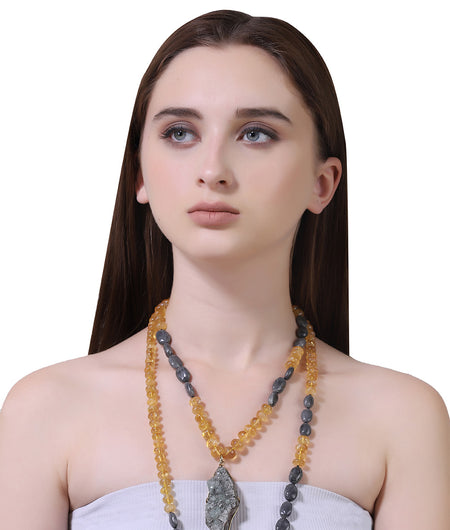 Grey And Yellow Semi Precious Necklace Stone Necklace