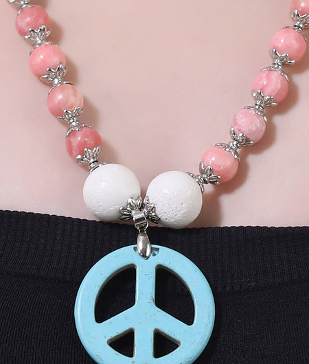 Pink And Blue Semi Precious Necklace Stone Necklace