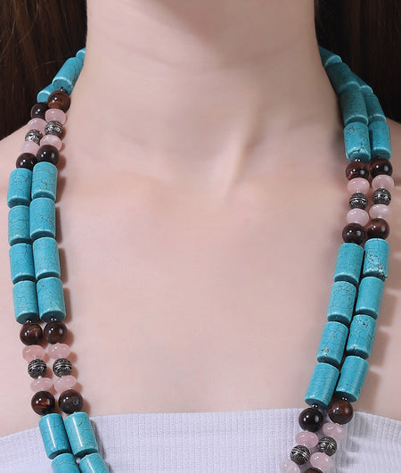 Turquoise Semi Precious string Stone Necklace