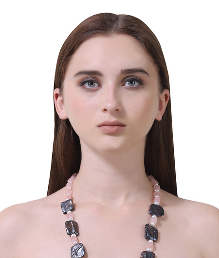 pink and off white and dark grey Semi Precious String Stone Necklace