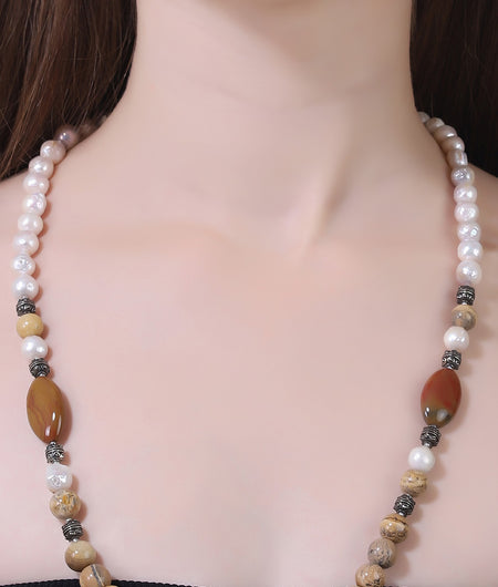 Brown And Off White Semi Precious String Stone Necklace