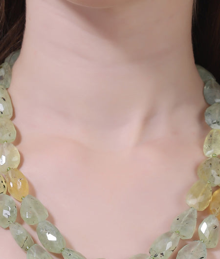 Shades of Green And Yellow Semi Precious String Stone Necklace