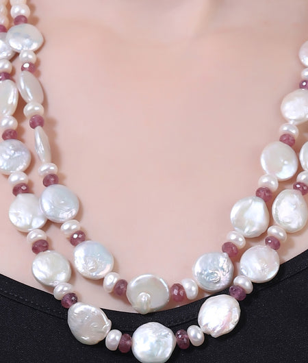 Red and Off White Pearls String Stone Necklace