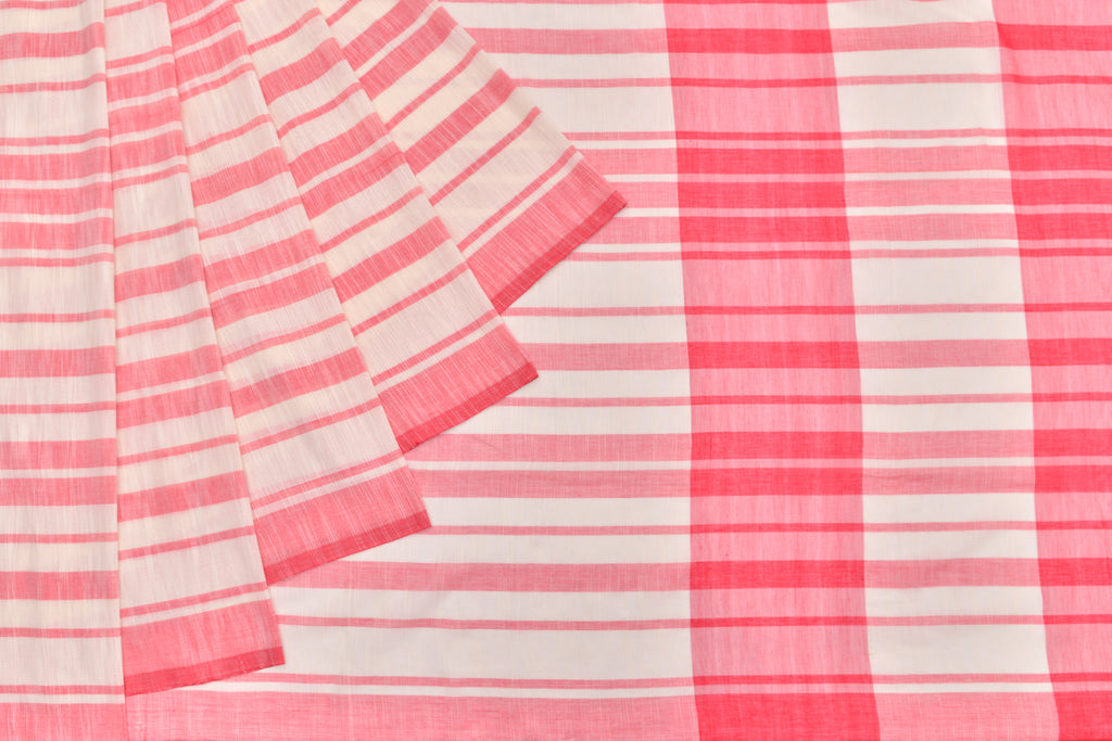 Bengal cotton  red and white horizontal stripe Saree