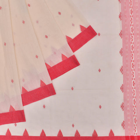 Bengal cotton  red and off white butti work in full body Saree