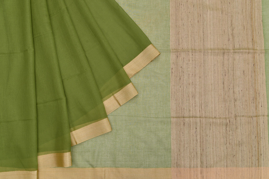 Bengal cotton  green jute pallu Saree