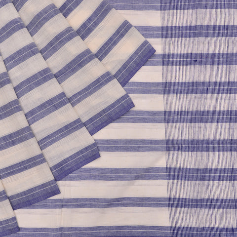Bengal cotton  blue and white striped Saree