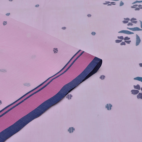 Bengal cotton  baby pink all over butti Saree