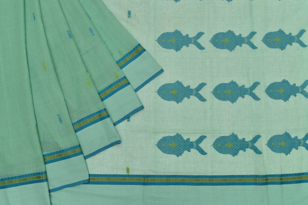 Bengal cotton  emerald green fish motif Saree