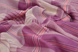 Bengal cotton  lavender gamcha checks Saree