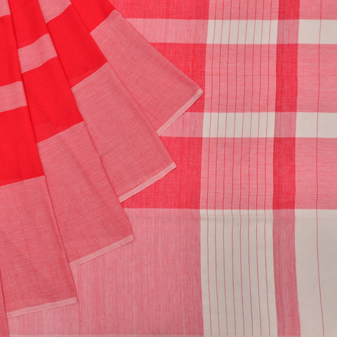 Bengal cotton  red striped Saree