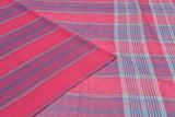 Bengal cotton  ruby pink striped Saree