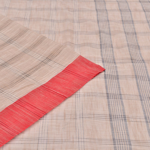 Bengal cotton  off white beige and black check Saree