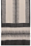Bengal cotton block  print white  black block print Saree