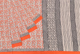 Bengal cotton block  print orange and off white floral stripes Saree
