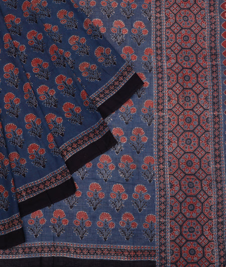 Bengal mulmul cotton block  print blue and maroon floral ajrakh print Saree