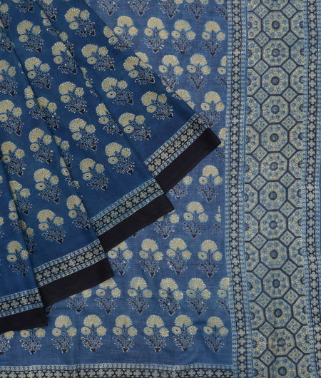 Bengal mulmul cotton ajhrakh print blue and stone yellow floral ajrakh print Saree