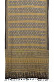 Bengal mulmul cotton ajhrakh print lemon yellow and brown floral stripes Saree
