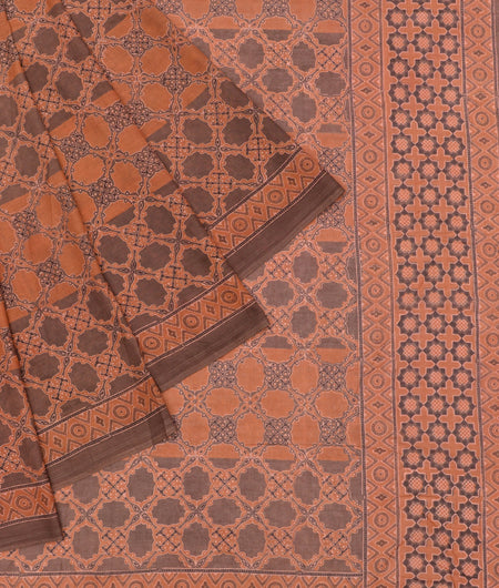 Bengal mulmul cotton ajhrakh print brown and pich ajrakh print Saree