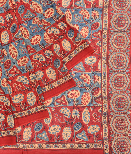 Bengal mulmul cotton ajhrakh print maroon,gray and yellow floral print Saree