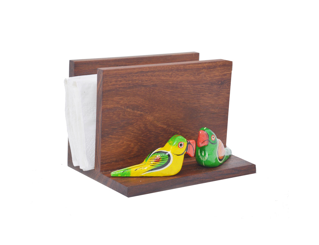 Set of 2 Sheesham Wood Napkin Holder Vertical With 2 Birds