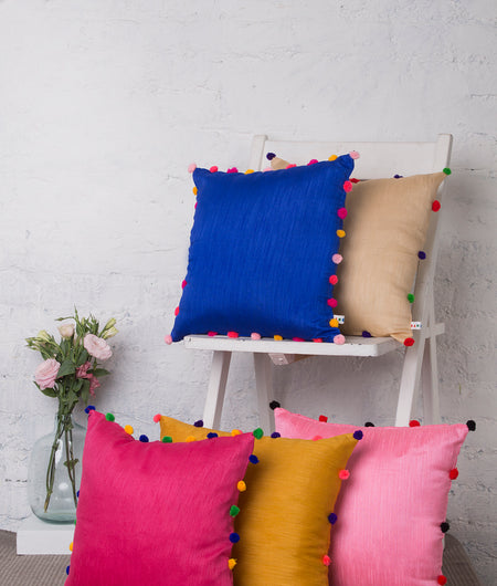 Raw Silk Cushion cover with Pom Pom Balls-Combo-Set of 5