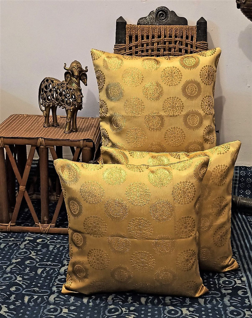 Set of 5 Golden Brocade Tradional Pattern Circle Of Life Cushion Cover |  Jharonka | Authentic Handlooms