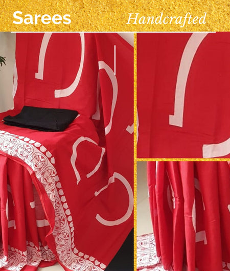 Handcrafted Cotton Block Print Red Saree