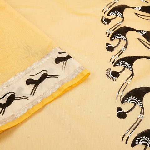 Orissa Chanderi Silk Yellow Saree with Pattachitra Pattern