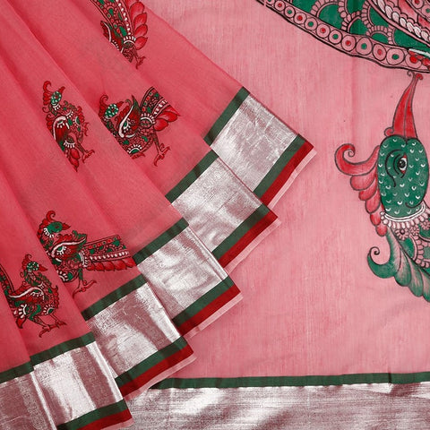 Orissa Chanderi Cotton Pink Saree with Kalamkari Pattern