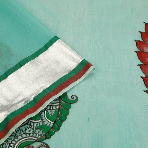 Orissa Chanderi Cotton Green Saree With Kalamkari Pattern
