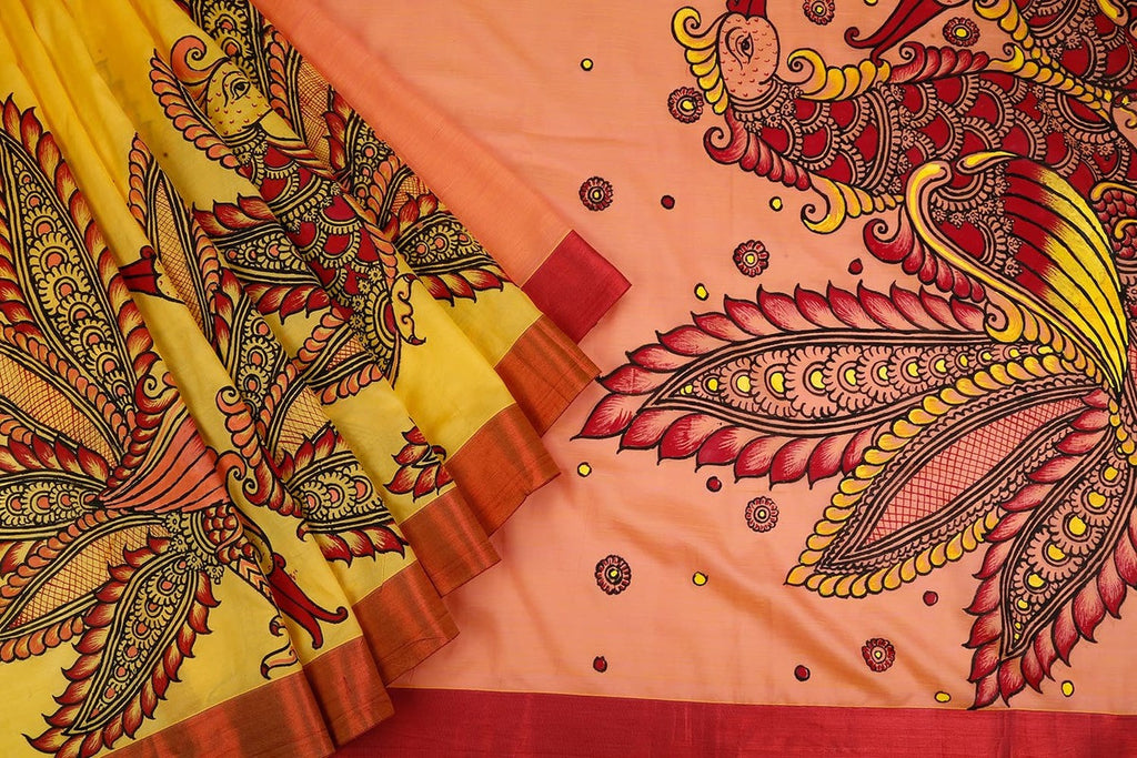 Orissa Cotton Silk Orange And Yellow Saree With Kalamkari Pattern